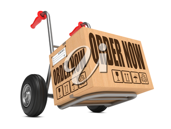 Cardboard Box with Order Now on Hand Truck White Background.
