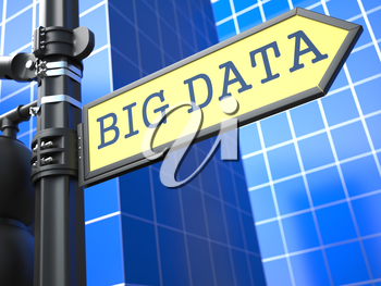Big Data on Yellow Roadsign on a blue urban background.