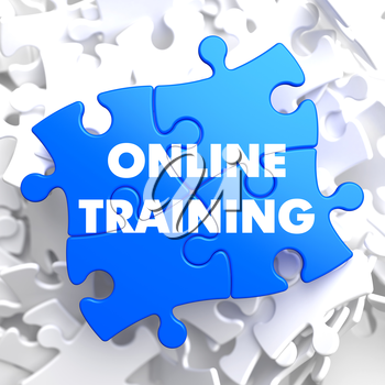 Online Training on Blue Puzzle on White Background.