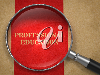 Professional Education concept. Magnifying Glass on Old Paper with Red Vertical Line Background.