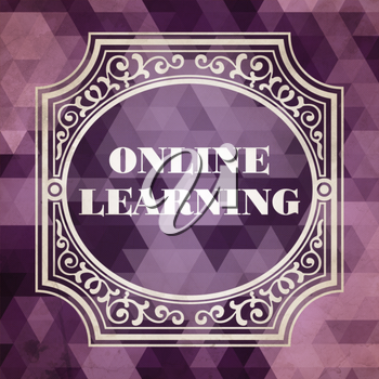 Online Learning Concept. Vintage design. Purple Background made of Triangles.