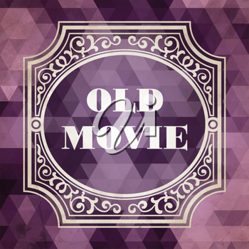 Old Movie Concept. Vintage design. Purple Background made of Triangles.
