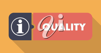 Quality Button in Flat Design with Long Shadows on Orange Background.