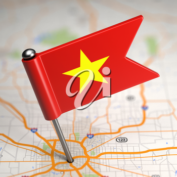 Small Flag of Vietnam Sticked in the Map Background with Selective Focus.