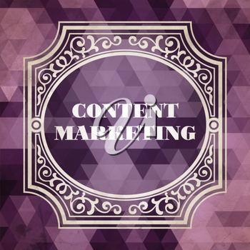 Content Marketing Concept. Vintage design. Purple Background made of Triangles.