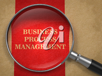 Business Process Management Concept. Magnifying Glass on Old Paper with Red Vertical Line Background.