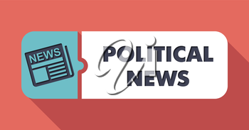 Political News Concept on Scarlet in Flat Design with Long Shadows.