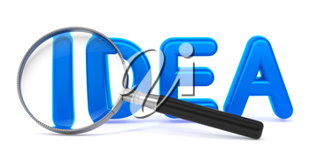 Idea - Blue 3D Word Through a Magnifying Glass on White Background.