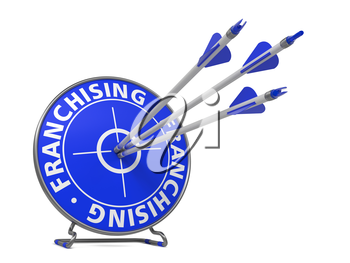 Franchising Concept. Three Arrows Hit in Blue Target.