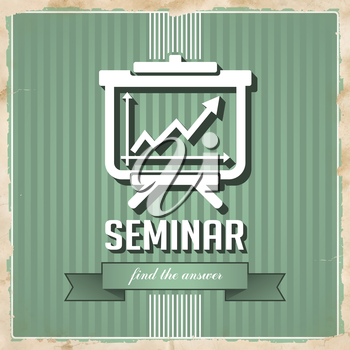 Seminar with Flipchart Icon on Green Striped Background. Vintage Concept in Flat Design.
