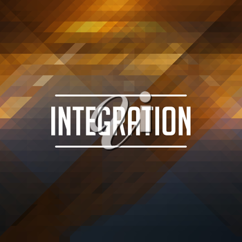 Integration Concept. Retro design. Hipster background made of triangles, color flow effect.