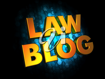 Law Blog - Gold 3D Words on Digital Background.