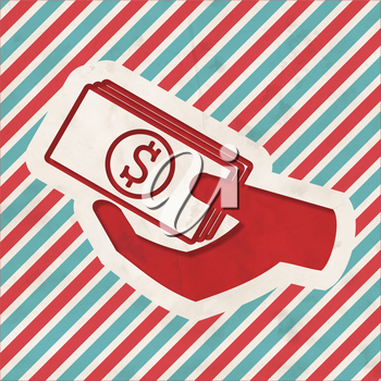 Icon of Money in the Hand on Red and Blue Striped Background. Vintage Concept in Flat Design.
