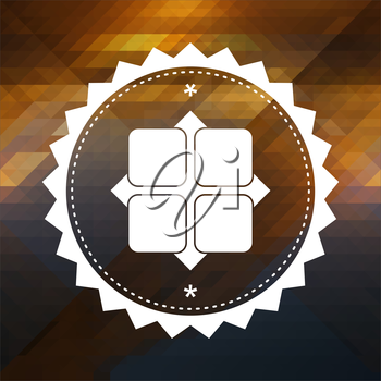 Icon of Y-axis. Retro label design. Hipster background made of triangles, color flow effect.