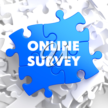 Online Survey on Blue Puzzle on White Background.