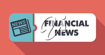Financial News Concept on Scarlet in Flat Design with Long Shadows.