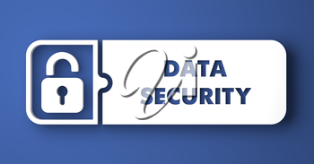 Data Security Concept. White Button on Blue Background in Flat Design Style.