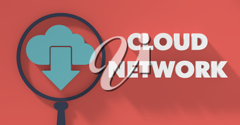 Cloud Network Concept with Magnifying Glass in Flat Design with Long Shadows.