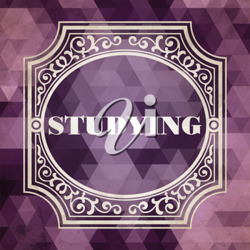 Studying Concept. Vintage design. Purple Background made of Triangles.