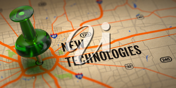 New Technologies Concept - Green Pushpin on a Map Background with Selective Focus.