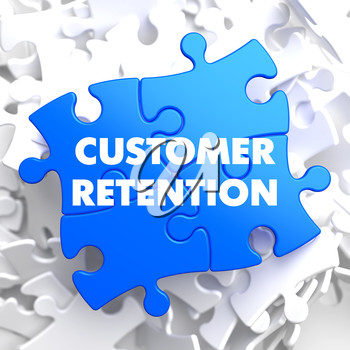 Customer Retention on Blue Puzzle on White Background.