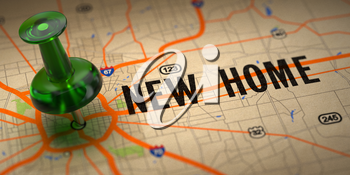 New Home Concept - Green Pushpin on a Map Background with Selective Focus.