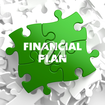 Financial Plan on Green Puzzle on White Background.
