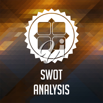 SWOT Analysis Concept. Retro label design. Hipster background made of triangles, color flow effect.