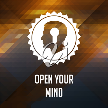Open Your Mind Slogan. Retro label design. Hipster background made of triangles, color flow effect.
