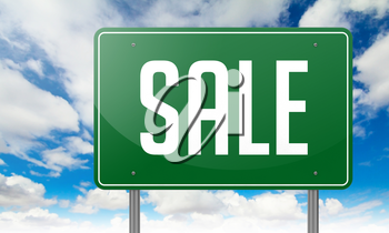Highway Signpost with Sale wording on Sky Background,