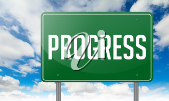 Highway Signpost with Progress wording on Sky Background,