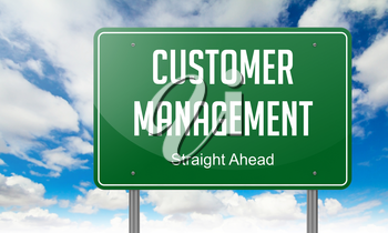 Highway Signpost with Customer Management wording on Sky Background.