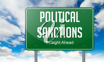 Highway Signpost with Political Sanctions Wording on Sky Background.