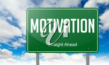 Highway Signpost with Motivation Wording on Sky Background.