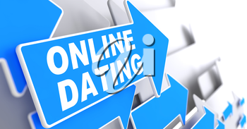 Online Dating on Direction Sign - Blue Arrow on a Grey Background.