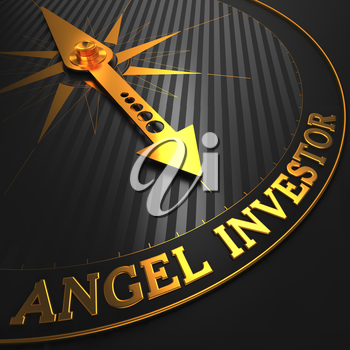 Angel Investor - Business Concept. Golden Compass Needle on a Black Field.