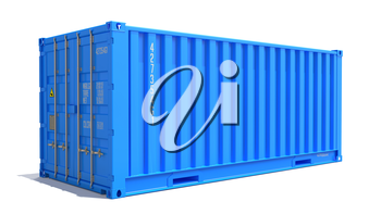 Blue Cargo Container Isolated on White Background.  Shipment Concept.