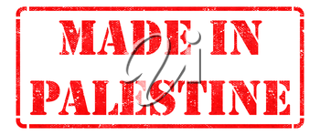 Made in Palestine - Inscription on Red Rubber Stamp Isolated on White.