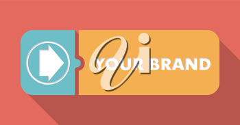 Your Brand Concept in Flat Design with Long Shadows on Red Background.