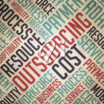 Outsourcing.  Red-Blue Wordcloud on Retro Background.