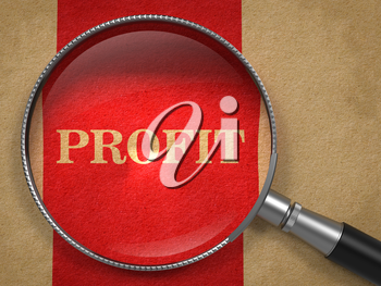 Profit through Magnifying Glass on Old Paper with Red Vertical Line.