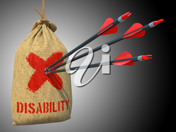 Disability - Three Arrows Hit in Red Mark Target on a Hanging Sack on Grey Background.