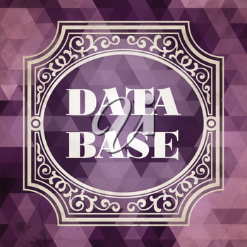 Data Base Concept. Vintage design. Purple Background made of Triangles.