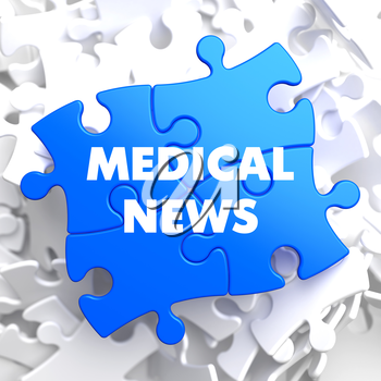 Medical News on Blue Puzzle on White Background.