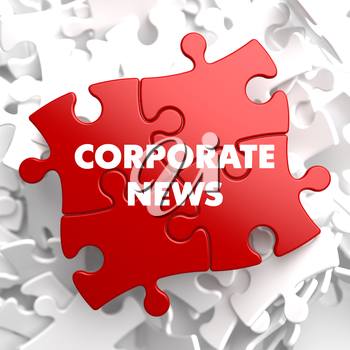 Corporate News on Red Puzzle on White Background.