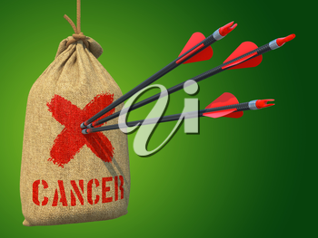 Cancer - Three Arrows Hit in Red Mark Target on a Hanging Sack on Grey Background.
