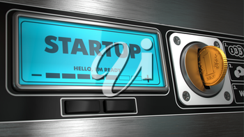 Startup - Inscription on Display of Vending Machine. Business Concept.