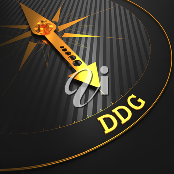 DDG - Business Background. Golden Compass Needle on a Black Field.