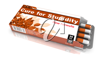 Cure for Stupidity - Orange Open Blister Pack Tablets Isolated on White.
