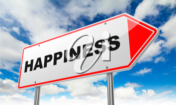 Happiness - Inscription on Red Road Sign on Sky Background.